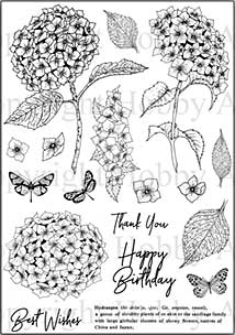Hobby Art Clear Stamp Set - Janie\'s Collection - Hydrangea