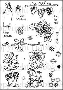 SO: Hobby Art Clear Stamp Set - Lisa\'s Collection - Floral Patchwork