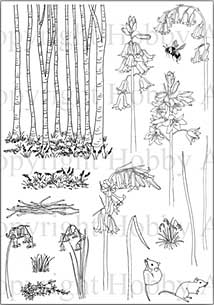 Hobby Art Clear Stamp Set - Janie\'s Collection - Bluebells