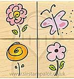 Quatros - Four Sketched Flowers