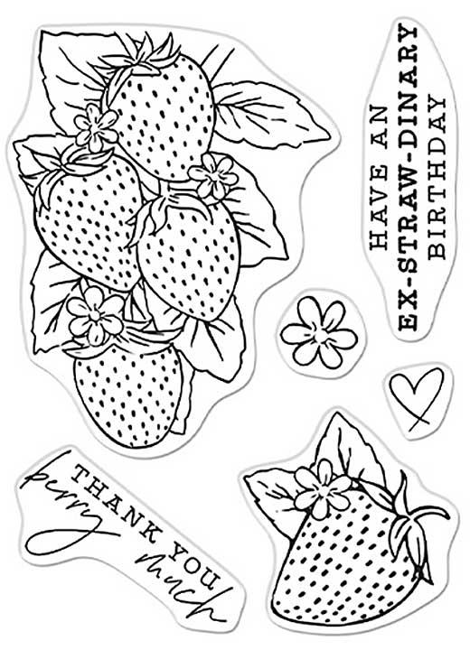 Hero Arts Clear Stamp- Hero Florals Strawberries Line Art (3x4)