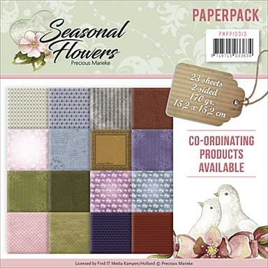 SO: Find It Trading Precious Marieke 6 x 6 Paper Pack - Seasonal Flowers, 16 Double Sided Designs, 24pk