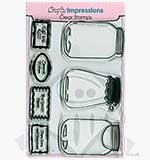 Crafty Impressions Clear Stamps set - Jars and Labels
