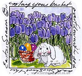 Bunny in Tulips Window