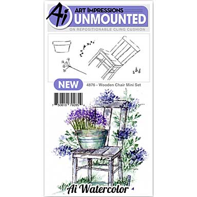 Art Impressions Watercolor Cling Rubber Stamps - Mini Wooden Chair