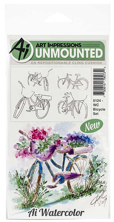 SO: Art Impressions Watercolor Cling Rubber Stamps - Bicycle