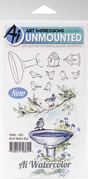 Art Impressions Watercolor Cling Rubber Stamps - Bird Bath