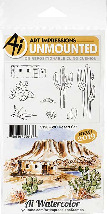 Art Impressions Watercolor Cling Rubber Stamps - WC Desert