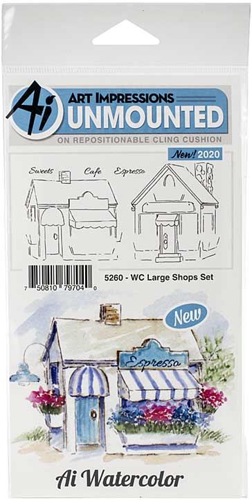 Art Impressions Watercolor Cling Rubber Stamps - WC Large Shops