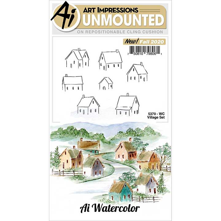 SO: Art Impressions Watercolor Cling Rubber Stamps - Village Set