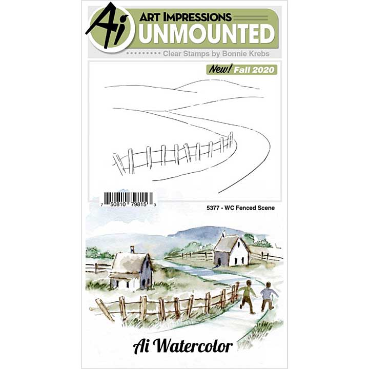 SO: Art Impressions - Fenced Scene Watercolor Clear Rubber Stamps