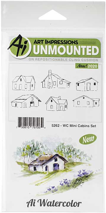 SO: Art Impressions Watercolor Cling Rubber Stamps - WC Mini Cabins