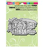 SO: Stampendous Christmas Cling Rubber Stamp 5.5x4.5 Sheet - Snowman Holly