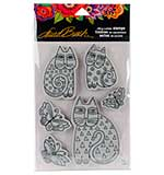 Stampendous Laurel Burch Cling Stamp with Template - Indigo Cats
