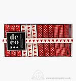Deco Ribbon Assortment - Red White Harmony