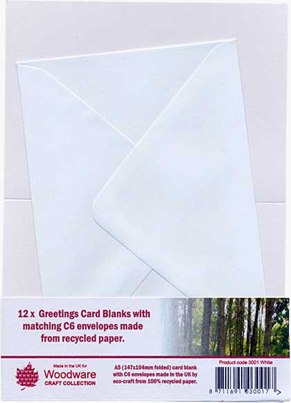 SO: 12 x Greeting Card Blanks with C6 Envelopes - White