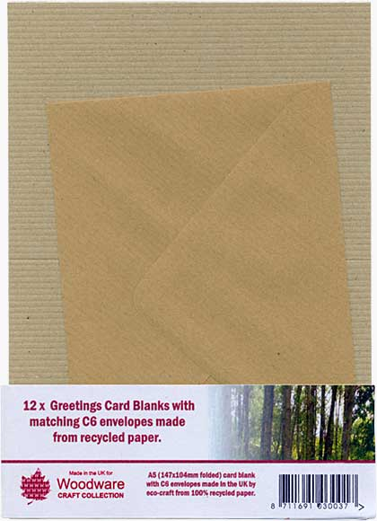 12 x Greeting Card Blanks with C6 Envelopes - Ribbed Brown