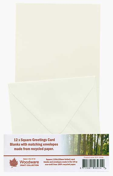 12 x Square Greeting Cards and Envelopes - Ivory