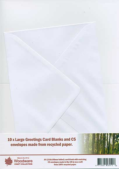 10 x Large Greeting Card Blanks and C5 Envelopes - White