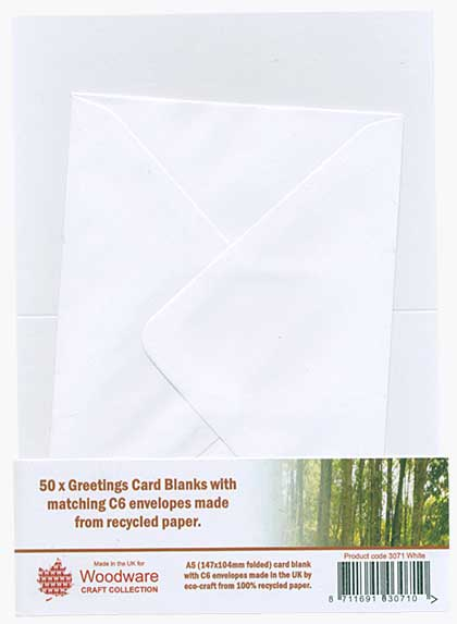 50 x Greeting Card Blanks and C6  Envelopes - White
