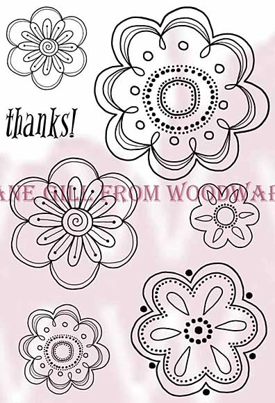 Floral Vine Heads - Woodware Clear Magic Stamps