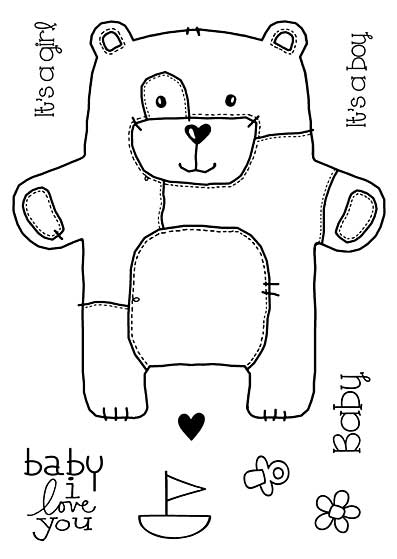 Woodware Clear Singles - Baby Patch Bear