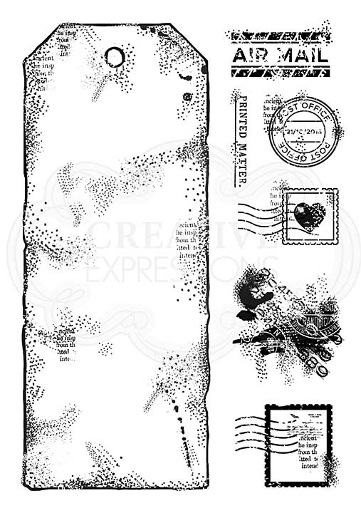 A5 Large Postal Tag, Woodware Clear Singles Stamp [1019]