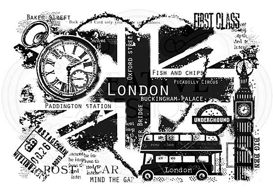 London Postcard, Woodware Clear Singles Stamp [1019]