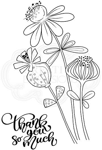 Thank You Flowers, Woodware Clear Singles Stamp [1019]