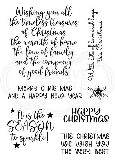Woodware Clear Singles Special Christmas Words 4 in x 6 in Stamp