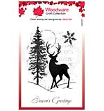Woodware Clear Singles Musical Deer 4 in x 6 in Stamp