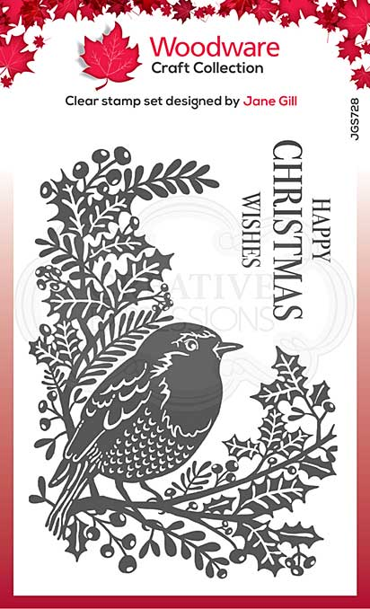 Woodware Clear Singles Lino Cut - Robin and Holly 4 in x 6 in Stamp