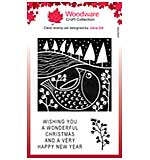 Woodware Clear Singles Lino Cut - Chubby Robin 4 in x 6 in Stamp