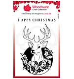 SO: Woodware Clear Singles Circle Deer 4 in x 6 in Stamp