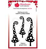 Woodware Clear Singles Curly Christmas 4 in x 6 in Stamp