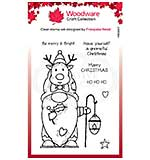 Woodware Clear Singles Reindeer Gnome Stamp