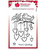 Woodware Clear Singles Hanging Hearts Stamp