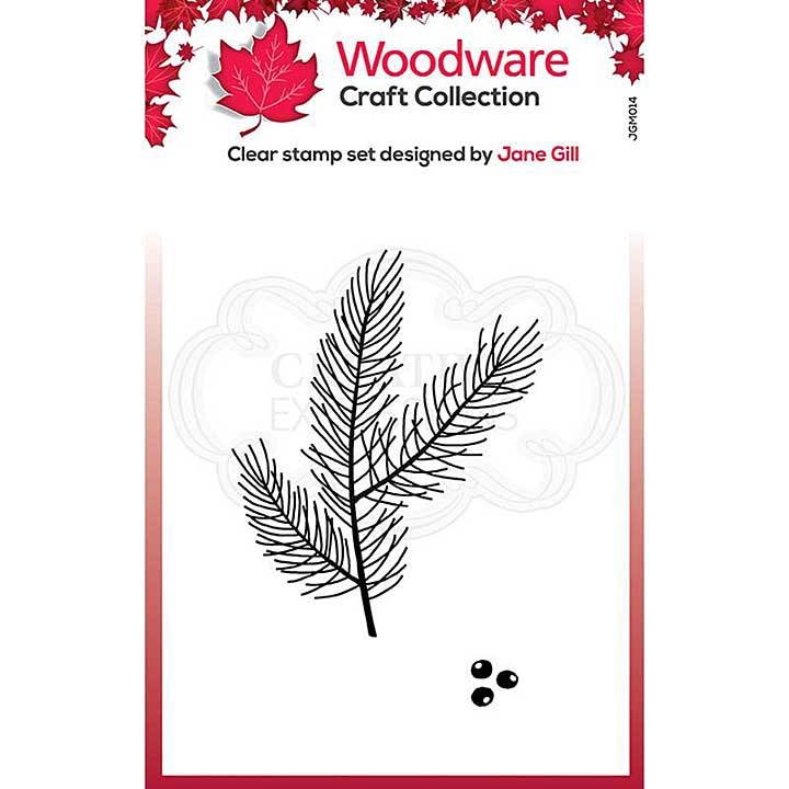 Woodware Clear Singles Mini Pine Branch 3.8 in x 2.6 in Stamp
