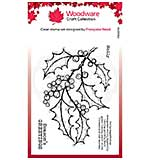 Woodware Clear Singles Holly Spray 4 in x 6 in Stamp