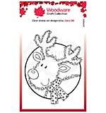 Woodware Clear Singles Festive Fuzzies . Mini Reindeer 3.8 in x 2.6 in Stamp