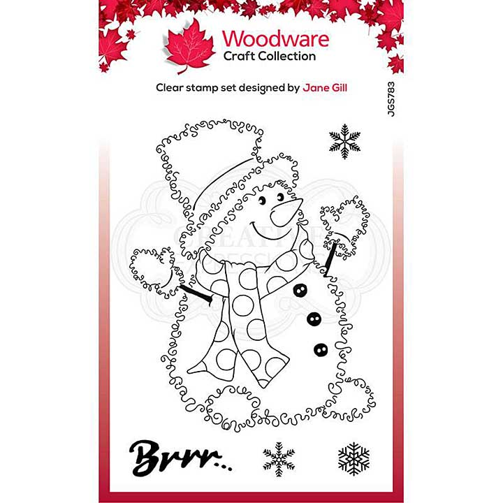 Woodware Clear Singles Festive Fuzzies . Snowman 4 in x 6 in Stamp