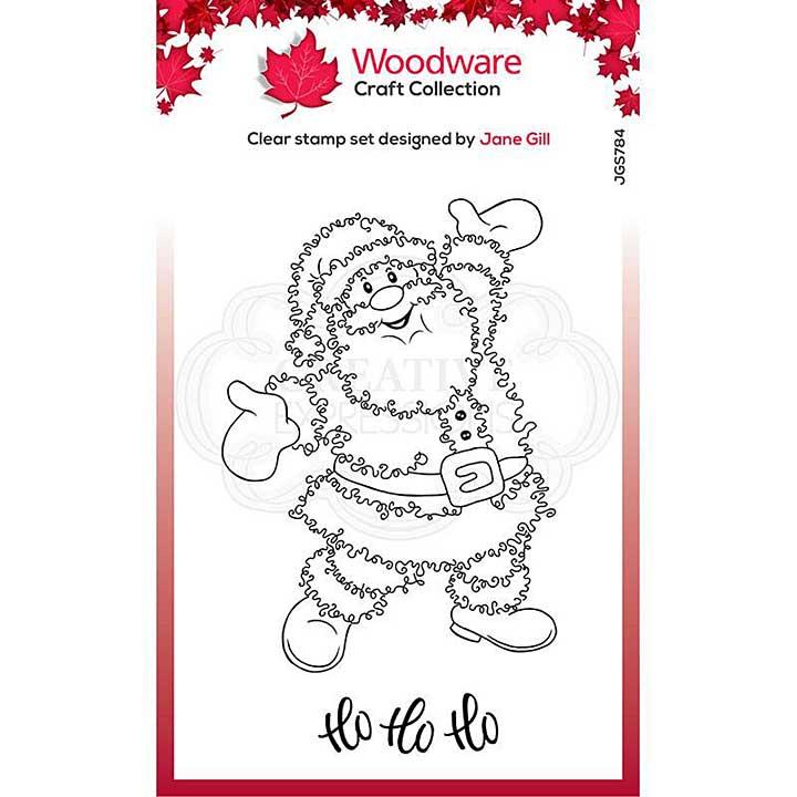 Woodware Clear Singles Festive Fuzzies . Santa 4 in x 6 in Stamp