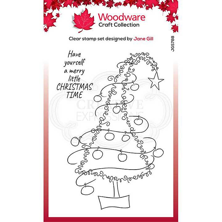 Woodware Clear Singles Festive Fuzzies . Tall Christmas Tree 4 in x 6 in Stamp