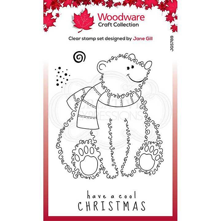 Woodware Clear Singles Festive Fuzzies . Polar Bear 4 in x 6 in Stamp