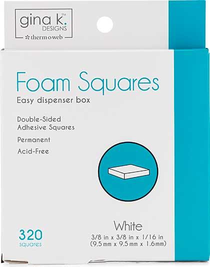 Gina K Designs Foam Squares - White (320pcs)