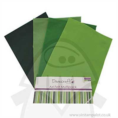 SO: Dovecraft A4 Felt Multipack - Green