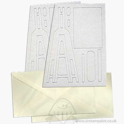 SO: Pinflair - Large Novelty Easel Cards w/Envelopes - White (2 pcs)