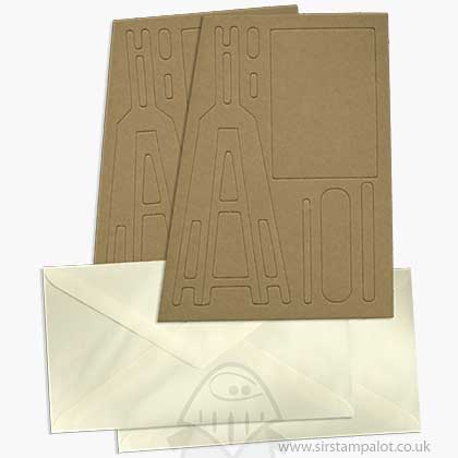 SO: Pinflair - Large Novelty Easel Cards w/Envelopes - Brown (2 pcs)