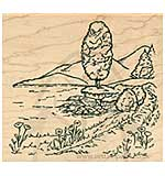 Inky Antics - Wood Stamp - Lakeside Path