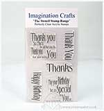SO: Imagination Crafts Stencil Stamps Thank You and Happy Birthday